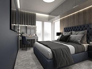 NOWOCZESNY SEGMENT - Średnia biała szara brązowa sypialnia małżeńska, styl glamour - zdjęcie od PEKA STUDIO