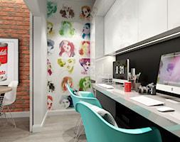 INDUSTRIALNE MIESZKANIE - Małe białe biuro domowe w pokoju, styl industrialny - zdjęcie od PEKA STUDIO
