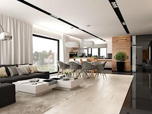 DOM W STYLU GLAMOUR - Średni biały czarny salon z kuchnią z jadalnią, styl glamour - zdjęcie od PEKA STUDIO