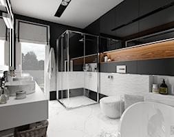 NOWOCZESNY SEGMENT - Duża łazienka w bloku w domu jednorodzinnym z oknem, styl nowoczesny - zdjęcie od PEKA STUDIO