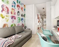 NOWOCZESNY APARTAMENT - Średnie kolorowe białe biuro kącik do pracy w pokoju, styl nowoczesny - zdjęcie od PEKA STUDIO