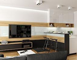 MIESZKANIE Z CZERNIĄ - Mały biały salon z barkiem z kuchnią z jadalnią, styl nowoczesny - zdjęcie od PEKA STUDIO