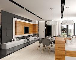 DOM W STYLU GLAMOUR - Średni szary biały salon z kuchnią z jadalnią, styl glamour - zdjęcie od PEKA STUDIO