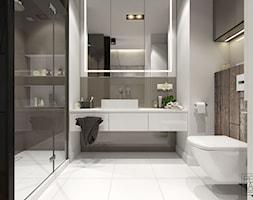MINIMALIZM Z TURKUSEM - Średnia biała łazienka w bloku w domu jednorodzinnym bez okna, styl nowoczesny - zdjęcie od PEKA STUDIO
