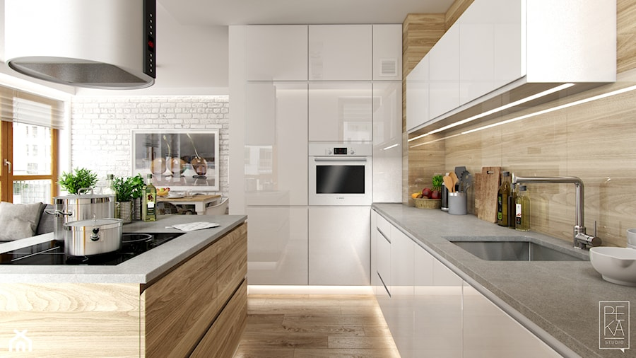 PORTFOLIO - Średnia otwarta beżowa kuchnia w kształcie litery l z wyspą, styl skandynawski - zdjęcie od PEKA STUDIO