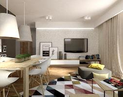 Mieszkanie na poddaszu - Mały szary biały salon z jadalnią, styl nowoczesny - zdjęcie od SO INTERIORS Architektura Wnętrz