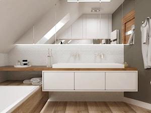 Łazienka na poddaszu, Aleksandrów Łódzki - Średnia szara łazienka na poddaszu w bloku w domu jednorodzinnym z oknem, styl nowoczesny - zdjęcie od SO INTERIORS Architektura Wnętrz