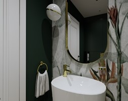 Toaleta z tapetą - Łazienka, styl nowoczesny - zdjęcie od KJ Studio Projektowanie wnętrz - Homebook