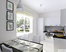 Mieszkanie 55m2 Oświęcim - Średnia otwarta szara jadalnia w kuchni, styl kolonialny - zdjęcie od KJ Studio