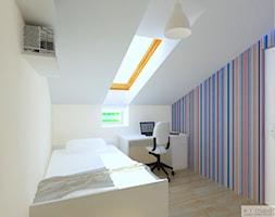 Poddasze 70m2 Leszno I - Mały biały kolorowy pokój dziecka dla chłopca dla dziewczynki dla ucznia dla nastolatka, styl klasyczny - zdjęcie od KJ Studio