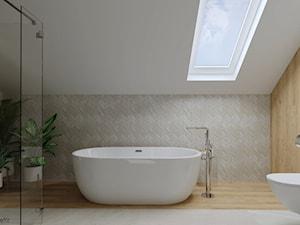 Dom w stylu skandynawskim - łazienka na poddaszu
