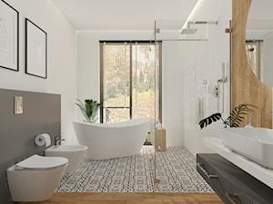 Łazienka przy głównej sypialni w domu jednorodzinnym