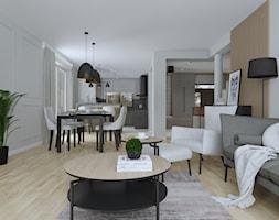 Parter domu w szarościach - Salon, styl nowoczesny - zdjęcie od KJ Studio Projektowanie wnętrz - Homebook