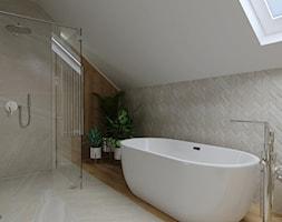 Dom w stylu skandynawskim - łazienka na poddaszu - Łazienka, styl skandynawski - zdjęcie od KJ Studio Projektowanie wnętrz - Homebook