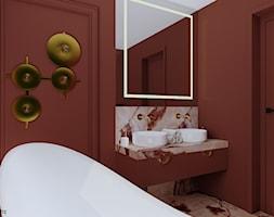 Bordowa łazienka - Łazienka, styl glamour - zdjęcie od KJ Studio Projektowanie wnętrz - Homebook
