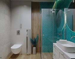 Turkusowa łazienka - Łazienka, styl skandynawski - zdjęcie od KJ Studio Projektowanie wnętrz - Homebook