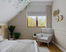 Sypialnia na poddaszu (Dom w Malinówkach) - Sypialnia, styl nowoczesny - zdjęcie od KJ Studio Projektowanie wnętrz - Homebook