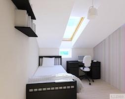 Poddasze 70m2 Leszno II - Mały biały pokój dziecka dla dziewczynki dla ucznia dla nastolatka, styl klasyczny - zdjęcie od KJ Studio