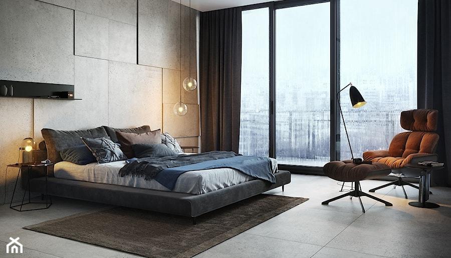 GRAND STONE - Średnia sypialnia małżeńska z balkonem / tarasem, styl industrialny - zdjęcie od Opoczno