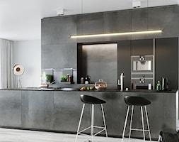 GRAVA GRAPHITE - Mała otwarta biała szara kuchnia dwurzędowa w aneksie z wyspą, styl nowoczesny - zdjęcie od Opoczno