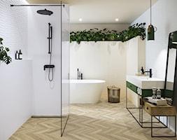RIBERO - Średnia biała łazienka w bloku w domu jednorodzinnym z oknem, styl industrialny - zdjęcie od Opoczno - Homebook