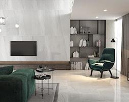 GRAND STONE - Duży szary salon z bibiloteczką, styl industrialny - zdjęcie od Opoczno