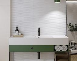 RIBERO - Średnia biała łazienka w bloku w domu jednorodzinnym, styl industrialny - zdjęcie od Opoczno - Homebook