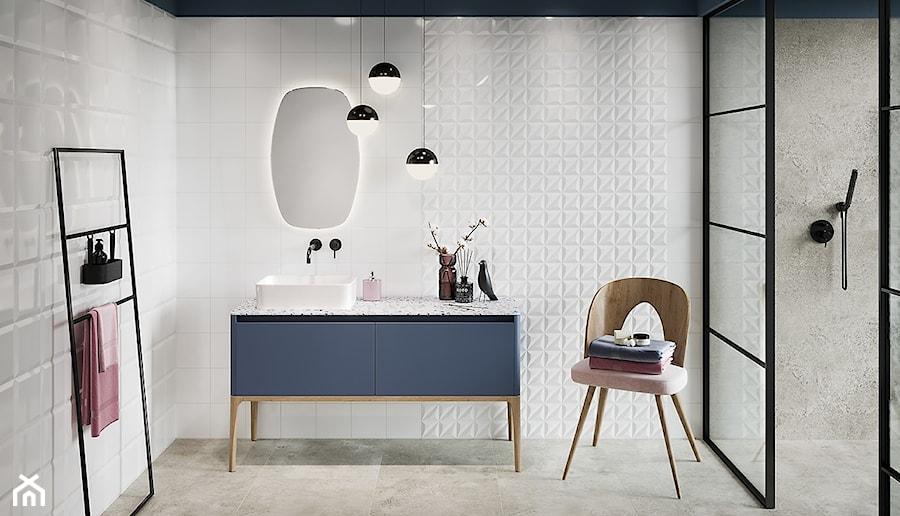 MONOBLOCK Bar - Średnia biała szara łazienka, styl skandynawski - zdjęcie od Opoczno
