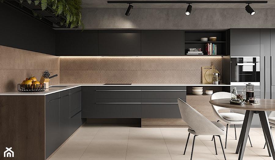 AREGO TOUCH - Duża otwarta szara kuchnia w kształcie litery l, styl eklektyczny - zdjęcie od Opoczno