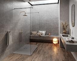 DAPPER - Średnia szara łazienka w bloku w domu jednorodzinnym jako salon kąpielowy z oknem, styl ru ... - zdjęcie od Opoczno - Homebook
