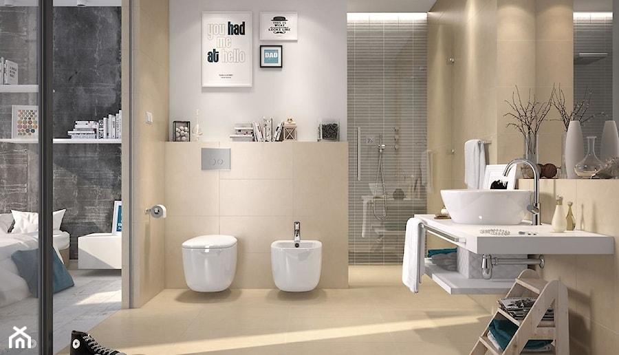 URBAN MIX - Duża biała łazienka w bloku w domu jednorodzinnym bez okna, styl nowoczesny - zdjęcie od Opoczno