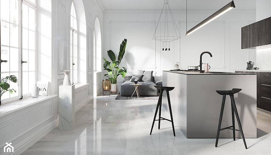GRAVA WHITE - Mała otwarta biała kuchnia dwurzędowa w aneksie z wyspą z oknem, styl minimalistyczny - zdjęcie od Opoczno