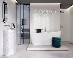 GLOW - Średnia biała łazienka w bloku w domu jednorodzinnym z oknem, styl nowoczesny - zdjęcie od Opoczno - Homebook