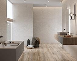 KEEP CALM - Duża beżowa łazienka jako domowe spa z oknem, styl minimalistyczny - zdjęcie od Opoczno - Homebook