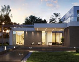LOFT - Duży taras z tyłu domu z basenem, styl nowoczesny - zdjęcie od Opoczno