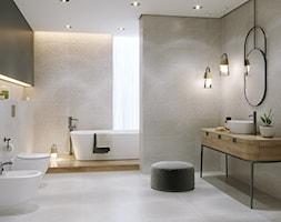 GREY BLANKET - Duża beżowa szara łazienka z oknem, styl eklektyczny - zdjęcie od Opoczno - Homebook