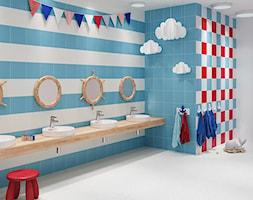 MONOBLOCK Colours - Duża biała niebieska czerwona łazienka bez okna, styl eklektyczny - zdjęcie od Opoczno
