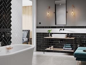 SALSA & METRO STYLE - Duża szara łazienka w bloku w domu jednorodzinnym bez okna, styl klasyczny - zdjęcie od Opoczno