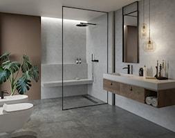 RAKARO - Średnia brązowa szara łazienka z oknem, styl industrialny - zdjęcie od Opoczno - Homebook