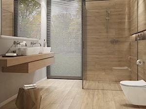 GRAND WOOD - Średnia szara łazienka w domu jednorodzinnym z oknem, styl nowoczesny - zdjęcie od Opoczno
