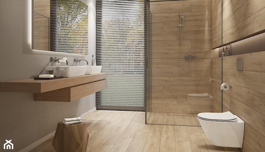 Grand Wood średnia Szara łazienka W Domu Jednorodzinnym Z