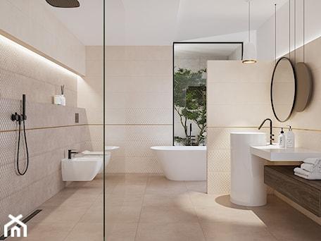 Aranżacje wnętrz - Łazienka: AREGO TOUCH - Średnia biała beżowa łazienka z oknem, styl eklektyczny - Opoczno. Przeglądaj, dodawaj i zapisuj najlepsze zdjęcia, pomysły i inspiracje designerskie. W bazie mamy już prawie milion fotografii!
