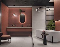 CLARET - Duża szara łazienka w bloku w domu jednorodzinnym jako salon kąpielowy, styl industrialny - zdjęcie od Opoczno - Homebook