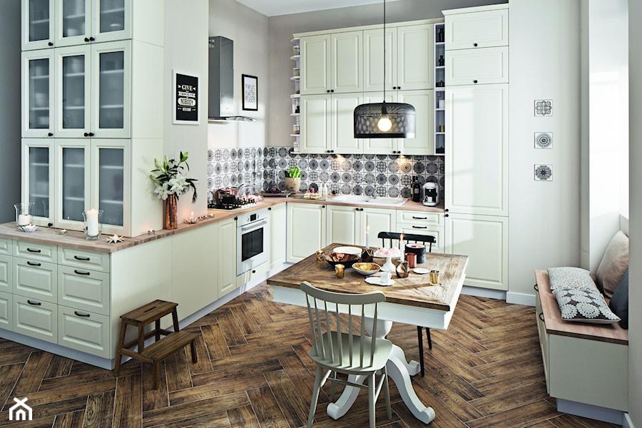 Kuchnia Luiza Waniliowy  Duża otwarta kuchnia w kształcie litery l, styl pro   -> Castorama Inspiracje Kuchnia