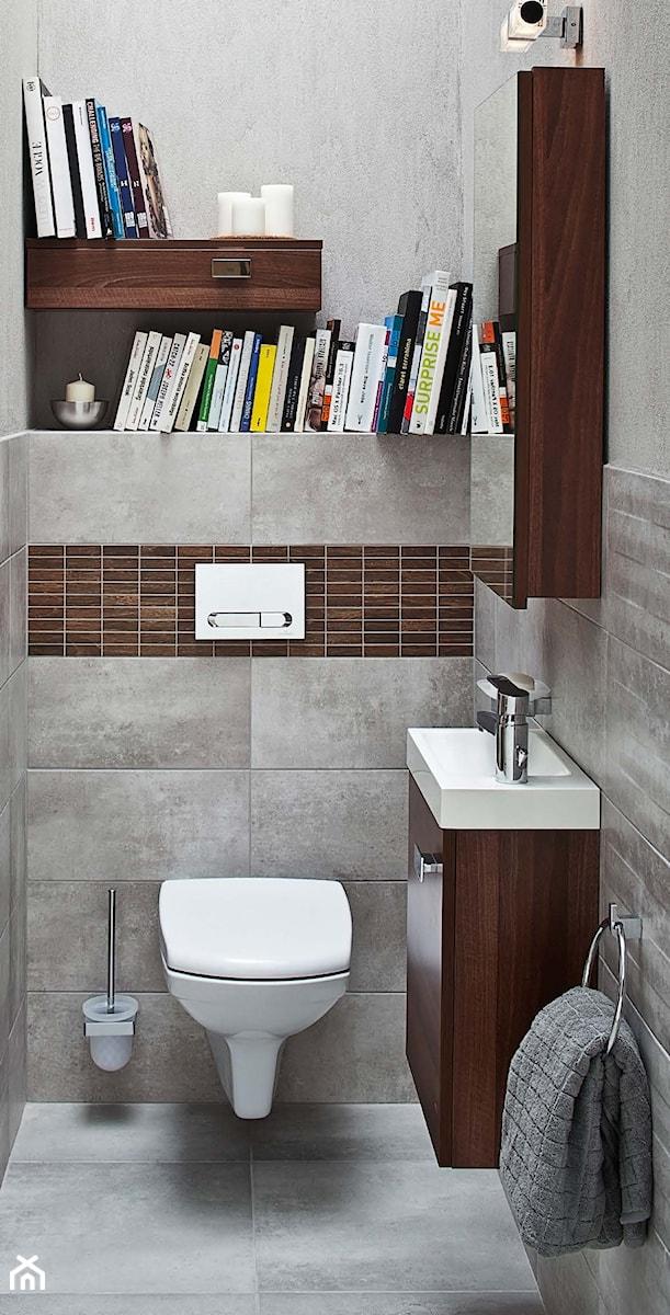 łazienka Mała Brązowa Szara łazienka W Bloku Bez Okna