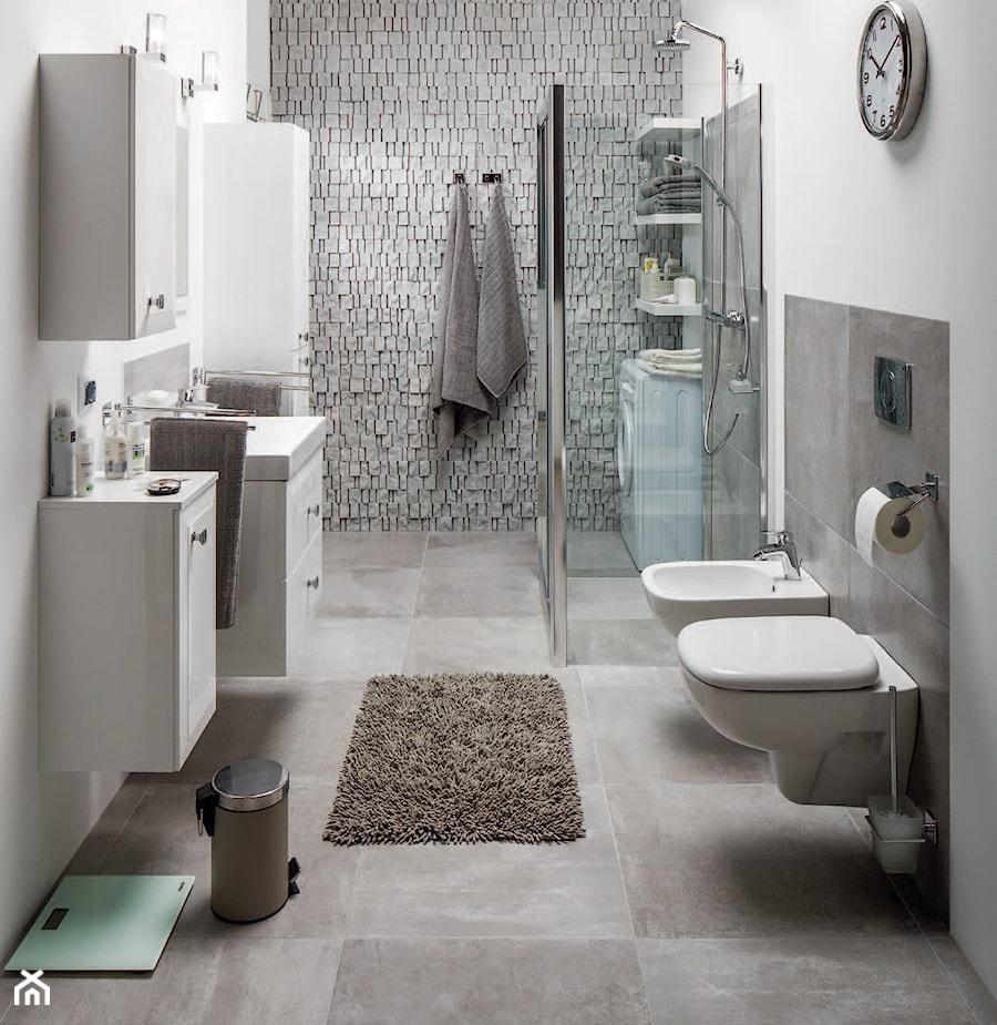 łazienka średnia Szara łazienka Bez Okna Styl Nowoczesny