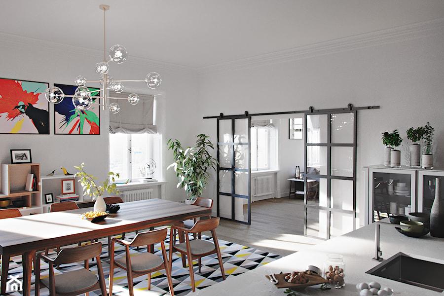 Loftowe wnętrze z drzwiami przesuwnymi - Jadalnia, styl industrialny - zdjęcie od Drzwi Przesuwne i Systemy Przesuwne RENO