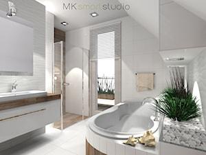 Łazienka w stylu skandynawskim - projekt - Średnia biała brązowa łazienka na poddaszu w domu jednorodzinnym z oknem, styl skandynawski - zdjęcie od MKsmartstudio