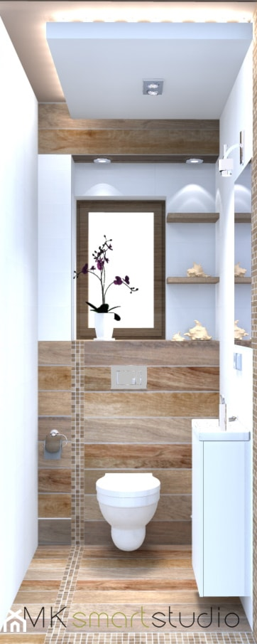 Mini Wc mini wc w stylu skandynawskim mała łazienka z oknem styl