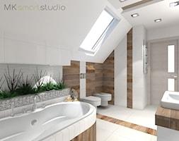Łazienka w stylu skandynawskim - projekt - Średnia biała beżowa łazienka na poddaszu w domu jednorodzinnym z oknem, styl skandynawski - zdjęcie od MKsmartstudio
